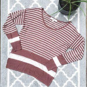 Loft mauve stripe boxy oversized sweater knit top